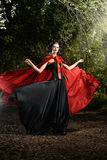 Magic woods. Beautiful brunette woman in black old-fashioned dress and red cloak walking in the thicket of the magic forest. Gothic style. Fashion Stock Photos