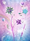 Magic world. Fantasy world, building, helicopter, street, balloons and other urban elements and floral nature are in one beautiful harmony, like a dream royalty free illustration