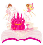 Magic world of tales, fairy castle appearing from the book. Illustration Stock Image