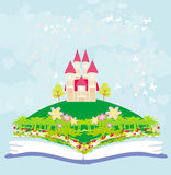 Magic world of tales, fairy castle appearing from the book. Illustration Royalty Free Stock Image