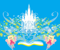 Magic world of tales, fairy castle appearing from the book. Illustration Stock Images