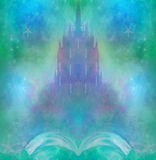 Magic world of tales, fairy castle appearing from the book. Raster illustration Royalty Free Stock Images