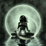 Magic Yoga - Moonlight Meditation Stock Photography
