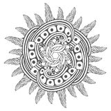 Magic zentangle art for coloring book pages. Mandala for tattoo design. Vector illustration Royalty Free Stock Image