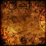 Magic zodiac background. Magic zodiac vinatge sepia background Stock Images