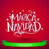Magica Navidad, Spanish translation: Magic Christmas, Holiday Greeting Card. Merry Christmas lettering Royalty Free Stock Images