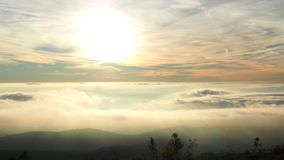 Standing above the clouds, S. Mamede mountain range in Portalegre stock images