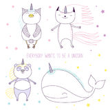 Magical animals. Hand drawn vector illustration of a cute whale, cat, panda and owl as unicorns among the stars, with text. Isolated objects on white background stock illustration