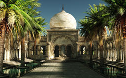 Magical Arabia, 3d CG. 3D computer graphics of an inner courtyard of an oriental palace Stock Photography