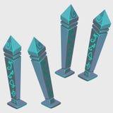 Magical artifacts with runes, cartoon image Stock Photos