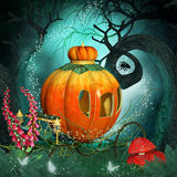 Magical background with pumpkin carriage and creepy trees Stock Photography
