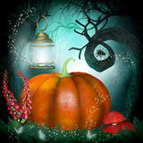 Magical background with pumpkin and creepy trees Royalty Free Stock Photography