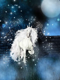 Magical background with white unicorn Stock Photos