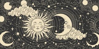 Free Magical Banner For Astrology, Celestial Alchemy. Heavenly Art For The Zodiac, Tarot, Device Of The Universe, Crescent Royalty Free Stock Images - 196472869