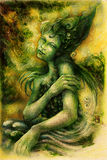 Magical beautiful water elven fairy, colorful drawing Royalty Free Stock Photo