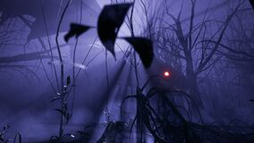 A magical big dragon stalks through an enchanted misty dark forest. Animation for fabulous, fiction or fantasy
