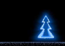 Magical Blue Glowing Christmas Tree Royalty Free Stock Photos