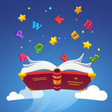 Magical book flying scattering alphabet letters Stock Photos