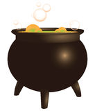 Magical brew. In the pot old. Boil. Vector illustration royalty free illustration