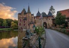 Magical Burg Satzvey German medieval castle at sunset. stock images