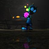 Magical cartoon alien character Royalty Free Stock Image