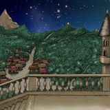 Magical castle at night near small town Royalty Free Stock Image