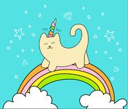 Magical cat on rainbow and two white clouds vector cartoon fun illustration. Unicorn cat with horn and decorative