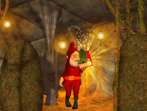 Magical  cave, dwarf with magical book Royalty Free Stock Photo
