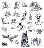 Magical characters. Huge collection of magical children's characters. Drawing with a hard tip marker Stock Photos