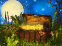 Magical  chest of treasure Stock Images