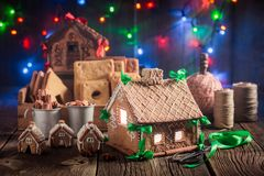 Magical Christmas gingerbread cottage in the unique place Royalty Free Stock Images