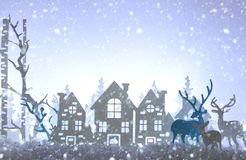 Magical Christmas paper cut winter background landscape with houses, trees, deer and snow in front of white lights background. Magical Christmas paper cut stock photos