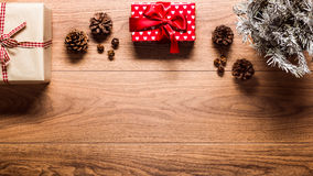 Magical christmas theme background, on wooden table. With copy space Stock Photos