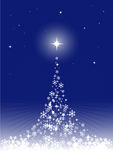 Magical_christmas_tree. Blue christmas background with magical christmas tree. Vector Royalty Free Stock Photography
