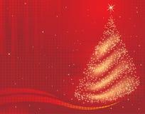 Magical christmas tree. A magical christmas tree background on red stock illustration