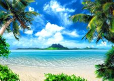 Magical coast. Tropical coast, beach with hang palm trees. View of the Sea, the island green and the sky with large clouds. Magical lighting. Note that the image