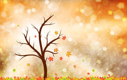 Magical colorful autumn season tree with leaves in the wind illu Stock Image