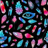 Magical seamless pattern. Magical colorful crystals gemstones seamless pattern. Blue eyes, wings of butterfly and rose flower. Vector background royalty free illustration