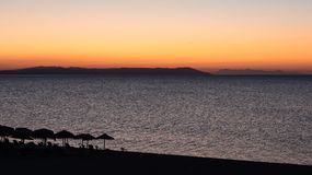 Magical Colors on the Horizon Moments Before Sun Goes Up. Sunris. E in Nea Vrasna, Greece Royalty Free Stock Photo