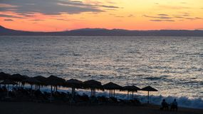 Magical Colors on the Horizon Moments Before Sun Goes Up. Sunris. E in Nea Vrasna, Greece Royalty Free Stock Image