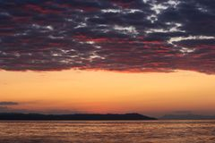 Magical Colors on the Horizon Moments Before Sun Goes Up. Sunris. E in Nea Vrasna, Greece Royalty Free Stock Images