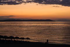 Magical Colors on the Horizon Moments Before Sun Goes Up. Sunris. E in Nea Vrasna, Greece Stock Image