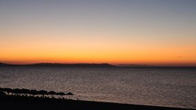 Magical Colors on the Horizon Moments Before Sun Goes Up. Sunris. E in Nea Vrasna, Greece Royalty Free Stock Photos
