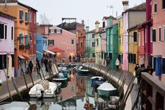 Magical colors of the island of Burano royalty free stock photos