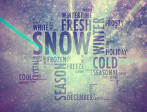 Magical concept snowy cloud words background Stock Image