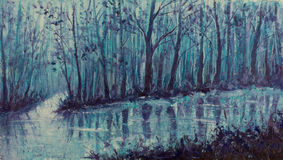 Magical creek. River in mystical forest. Impasto artwork. Original oil painting scary forest, beautiful magical creek on canvas. River in the mystical forest vector illustration