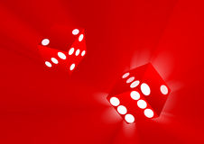 Magical dice. In red ray background Stock Photos