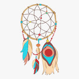 Magical dreamcatcher with sacred feathers to catch dreams pictogram icon Stock Image