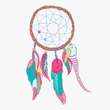 Magical dreamcatcher with sacred feathers to catch dreams pictogram icon Stock Images