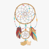 Magical dreamcatcher with sacred feathers to catch dreams pictogram icon Royalty Free Stock Photo